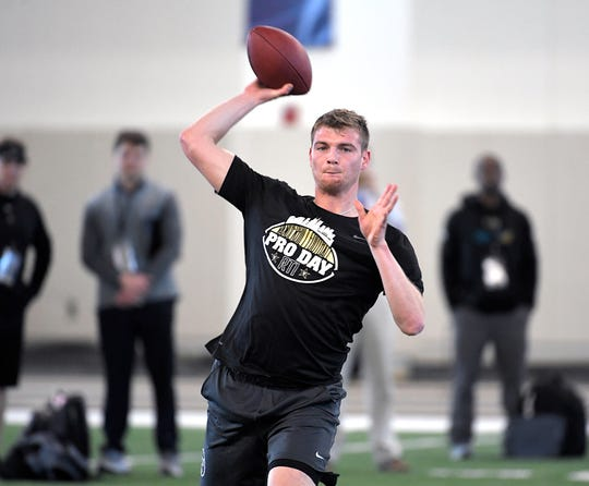 Vanderbilt quarterback Kyle Shurmur throws during drills at NFL Pro Day in Nashville on Tuesday, March 12, 2019.