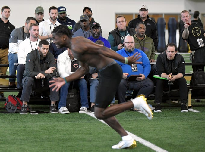 Over 40 NFL team representatives attended Vanderbilt's NFL Pro Day in Nashville on Tuesday, March 12, 2019. Vanderbilt cornerback Joejuan Williams runs drills during NFL Pro Day in Nashville on Tuesday, March 12, 2019.