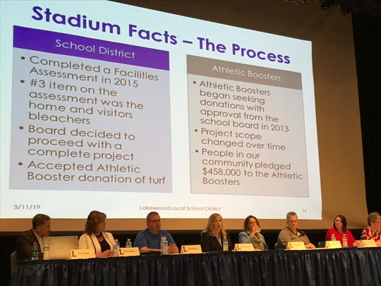 "The Lakewood Local Schools panel talks about the stadium with audience members, during the second ""Let's Talk"" community forum discussing the May bond issue."