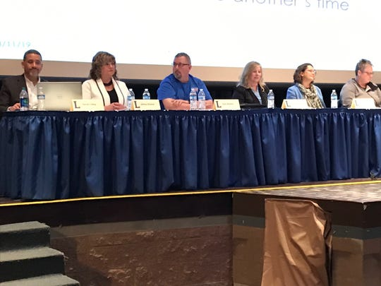 """Members of a Lakewood Local Schools panel provided information and took questions from the audience, during the second """"Let's Talk"""" community forum discussing May's bond issue."""