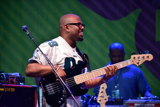 Montclair Jazz Festival Artistic Director and five-time Grammy Award winner Christian McBride takes the stage with A Christian McBride Situation, before approaching lightning warnings shut down the stage at the 7th Annual 2016 Montclair Jazz Festival in Nishuane Park.