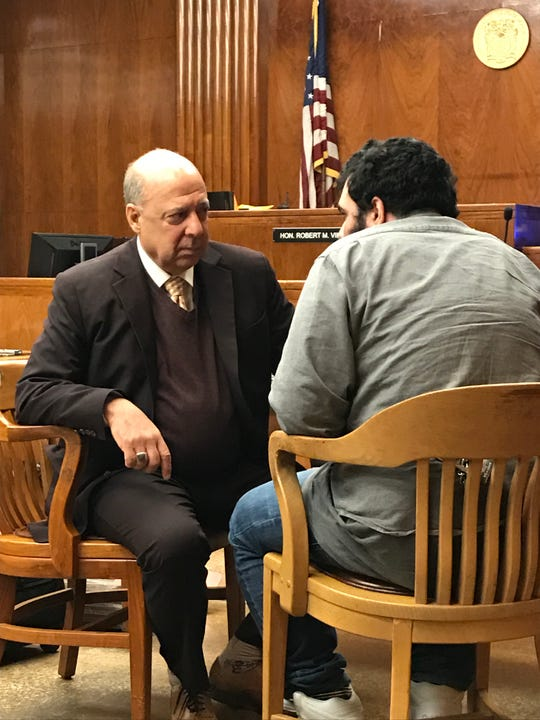 Jesus Lopez with his attorney, John Bruno, in Superior Court in Hackensack on Tuesday, March 12, 2019.