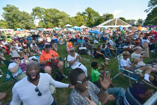 The crowd goes wild after Louis Prima, Jr. and the Jazz House Big Bands deliver high-energy performances at the 7th Annual 2016 Montclair Jazz Festival in Nishuane Park.
