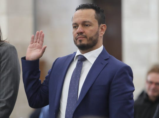 Al Alvarez, who was accused of sexually assaulting Katie Brennan during the Murphy campaign, is sworn in on March 12, 2019, before the legislative oversight committee investigating Murphy hiring.