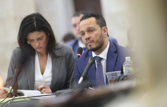 Attorney Stacy Biancamano with her client Al Alvarez, who was accused of sexually assaulting Katie Brennan during the Murphy campaign. Alvarez testified on March 12, 2019, before the legislative oversight committee investigating Murphy hiring.