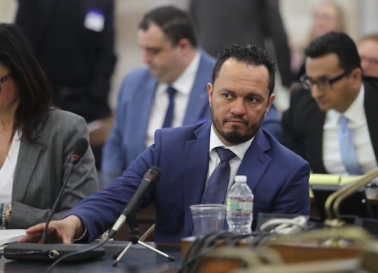 Al Alvarez, who was accused of sexually assaulting Katie Brennan during the Murphy campaign, testifies before the legislative oversight committee investigating Murphy hiring on March 12, 2019.