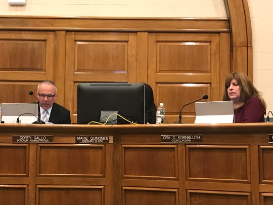 Bergenfield Borough Administrator Corey Gallo, left, and Borough Councilwoman Ora Kornbluth were present for the February 19 council meeting.
