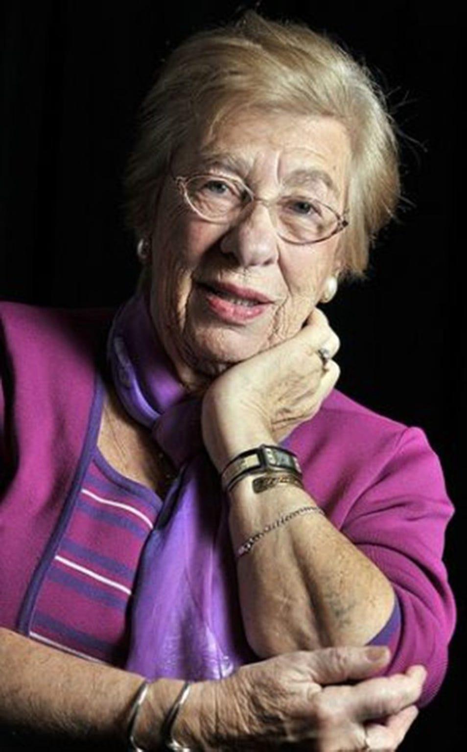 Eva Schloss, childhood playmate of Anne Frank and Holocaust survivor.