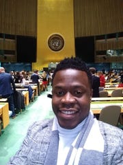 New Mexico State University student Ejiro Uriri Osiobe showed his support for the United Nations at the United Nations Association of the United States of America's (UNA-USA) 2019 Global Engagement Summit at U.N. Headquarters in New York City.