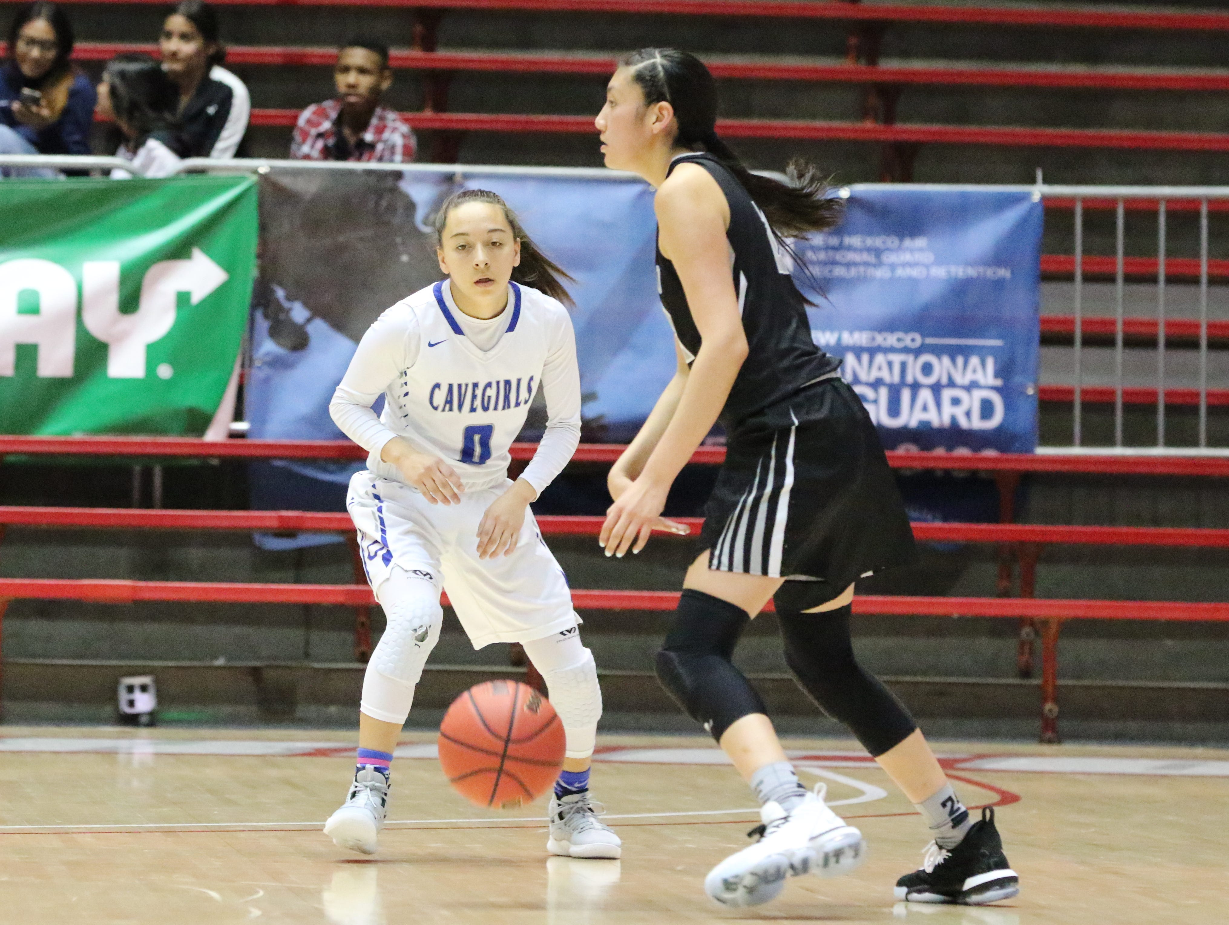 Baylee Molina guards a Volcano Vista player in Tuesday's Class 5A quarterfinals game at The Pit. Carlsbad won, 41-39 in overtime.