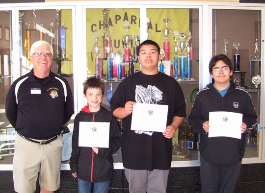 The February Most Improved Students at Chaparral Middle School are, from left to right, Anthony Darrach,  Aristeo Chacon,  Alfonso Martinez. Also pictured is Ned Kline of Kiwanis.