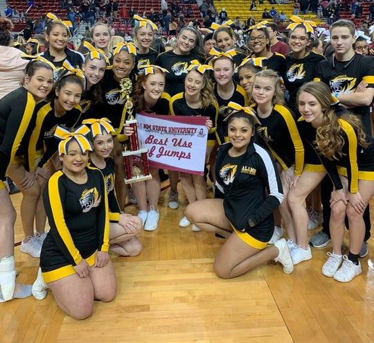 AHS Cheer Team at NMSU Spirit Championships on Jan 19 and awards