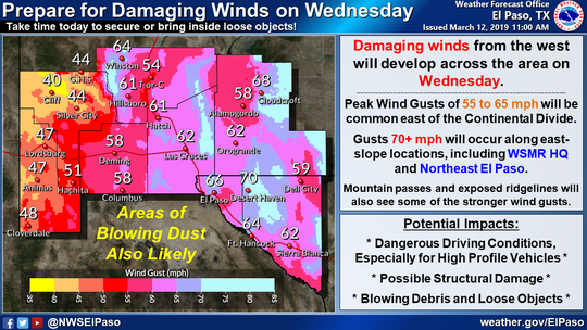 A NWS El Paso weather advisory for the Tularosa Basin and the surrounding areas through Wednesday.