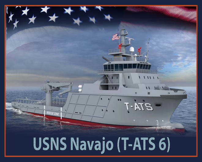 An artist's rendering of the future USNS Navajo (T-TATS 6) shows some of the vessel's details.