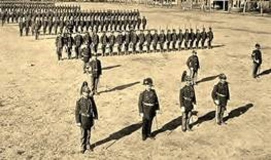 Troops are reviewed at Fort Stanton after its founding in 1855.