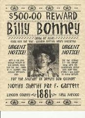 Bounty was offered for Billy the Kid