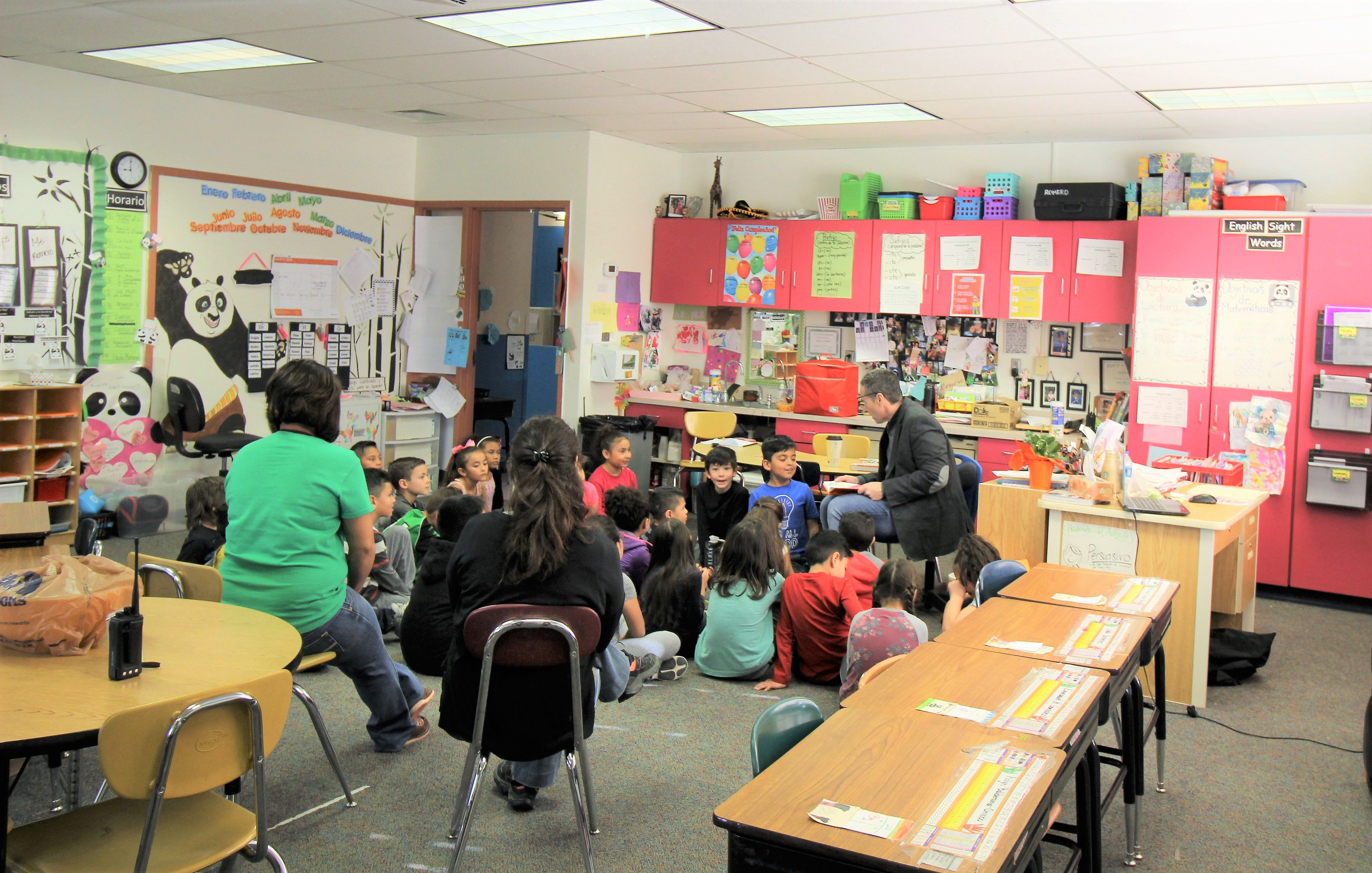 I do not like Green Eggs and Ham, I do not like them Sam I am are just a few of the famous words by Dr. Seuss that the bi-lingual second graders at Sierra Vista Primary listened to as Dr. Bickert read to them.