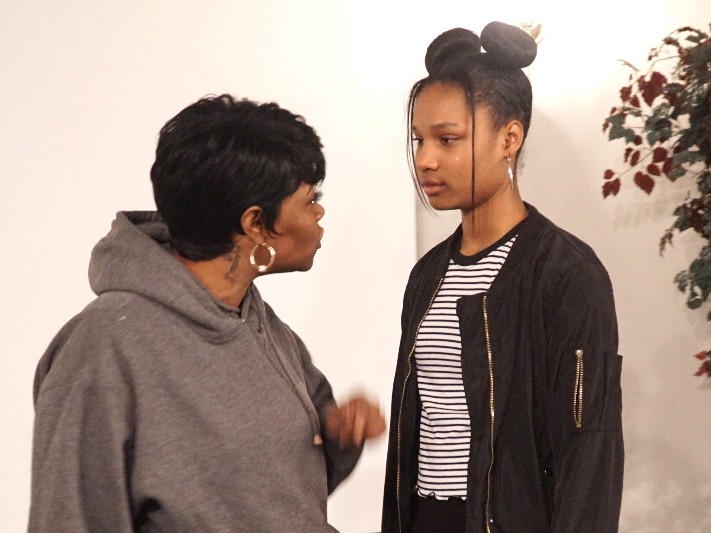 Andreana Beard, right, and Lavonia Ratliff rehearse #Listen on March 11.