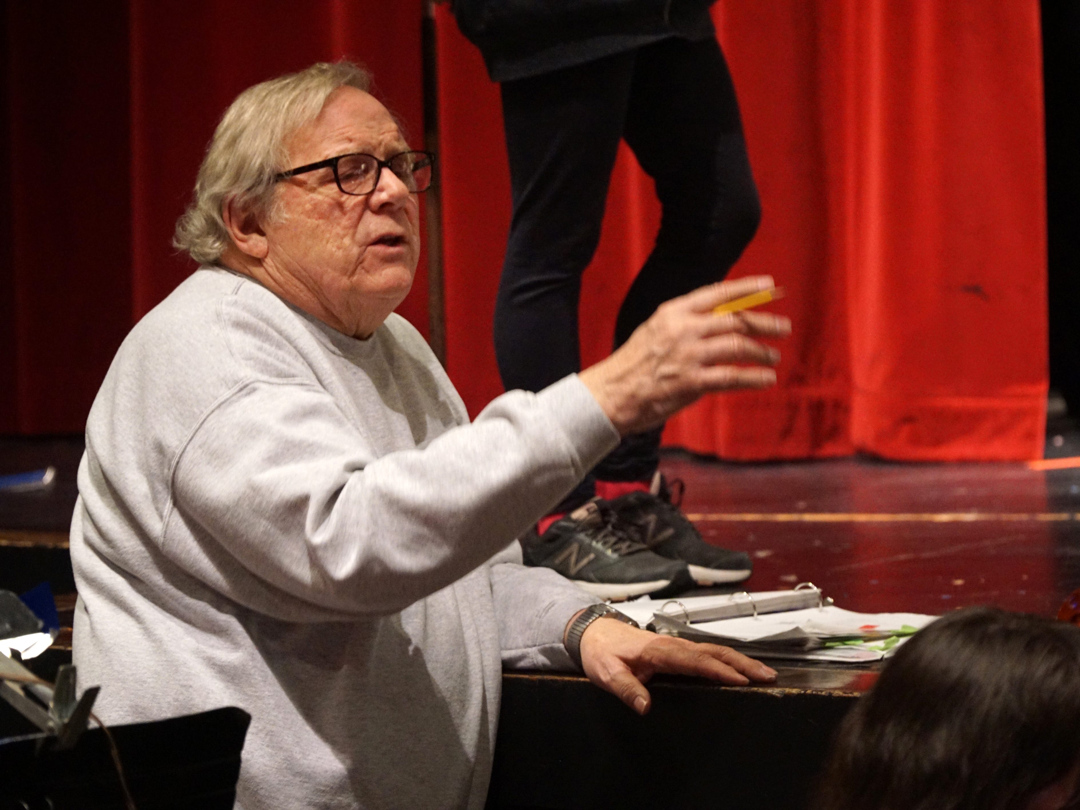 Once Upon a Mattress director Dean Cobb coordinates his musicians, actors and dancers during a March 11 rehearsal.