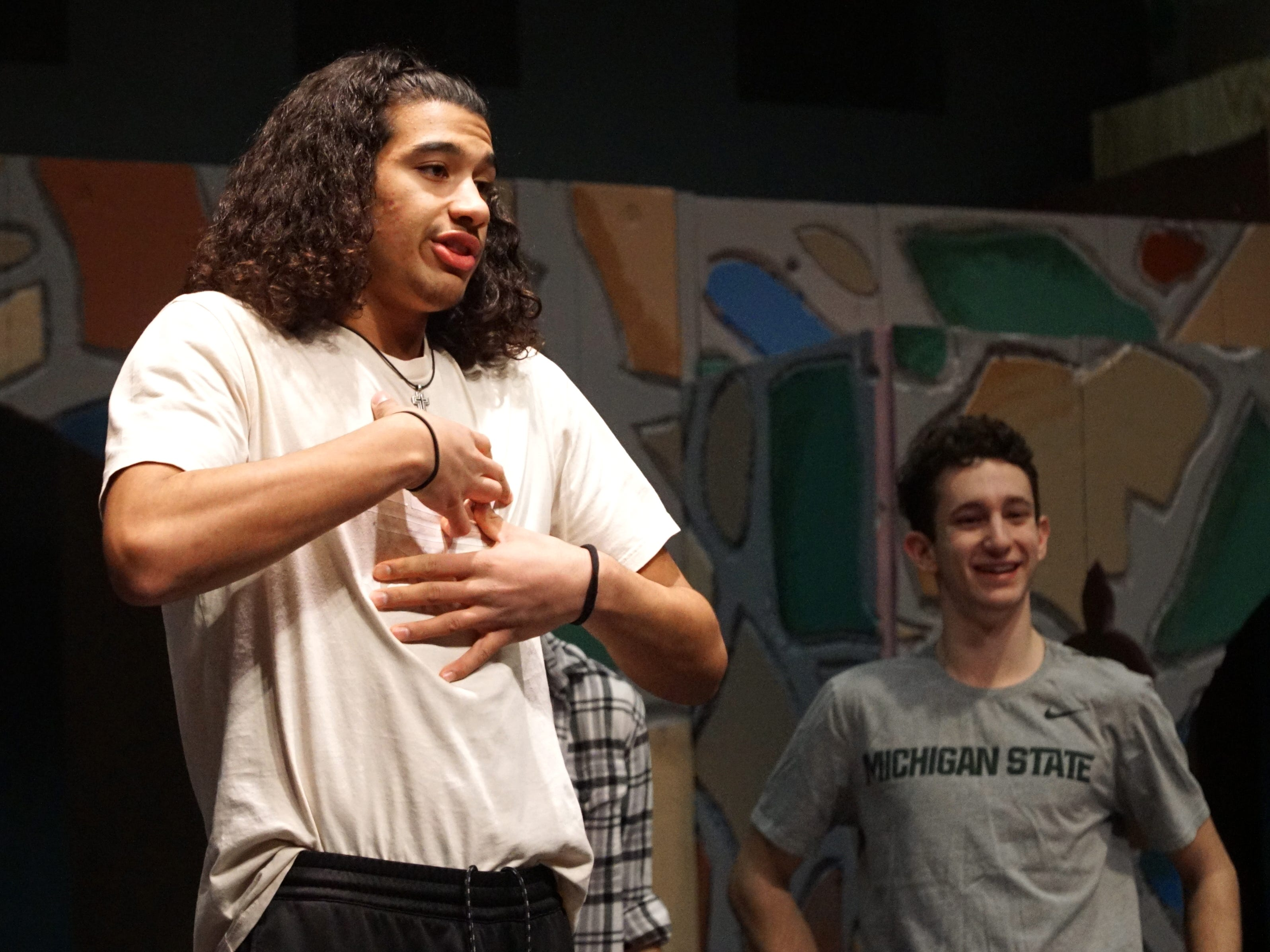 Dauntless the Drab (Max Martin) reheases a scene from Farmington Hills Harrison's upcoming production of Once Upon a Mattress on March 11.