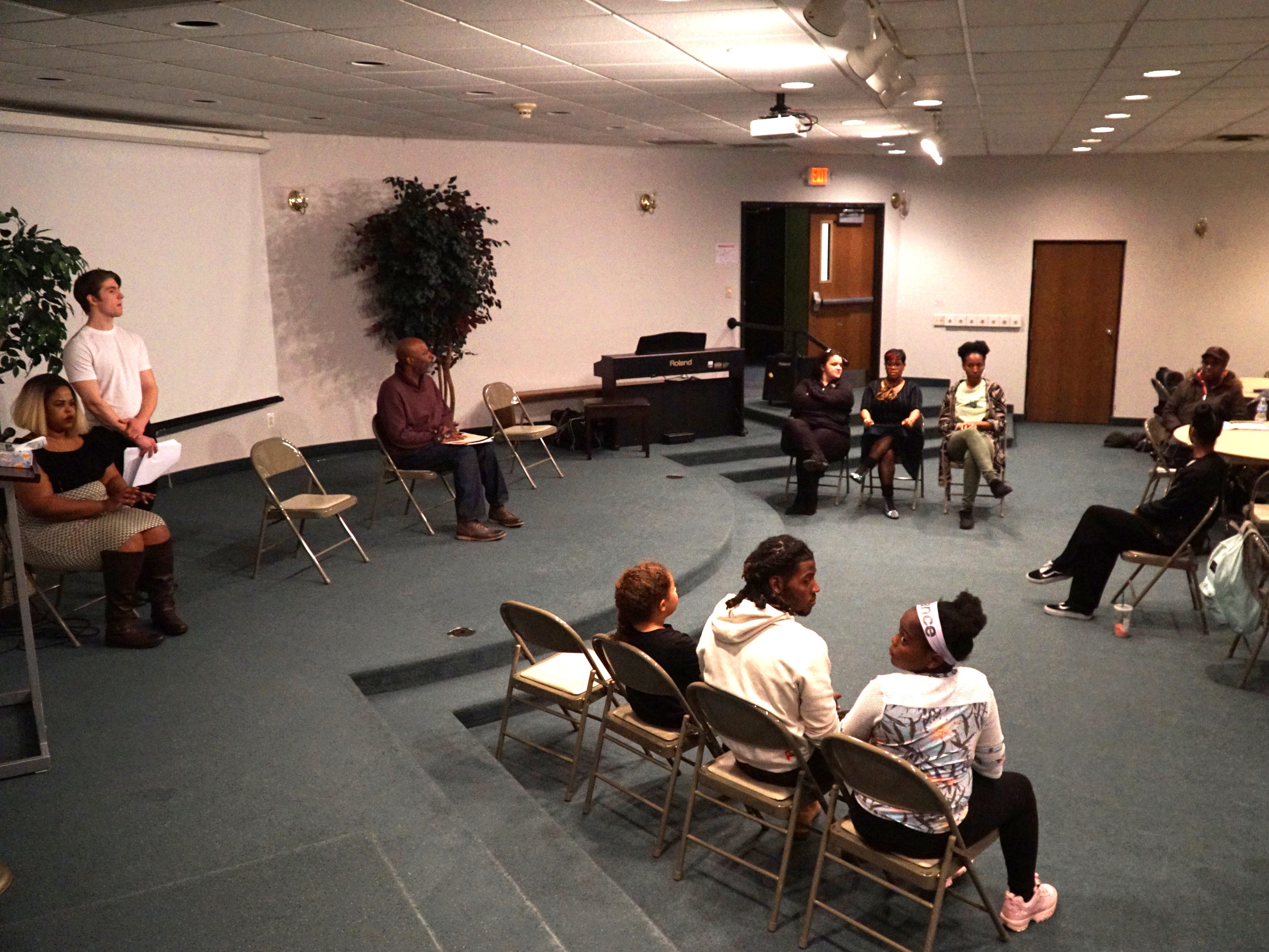 Beard's play #Listen takes over the basement meeting room of the Hilltop Church of the Nazarene on March 11.