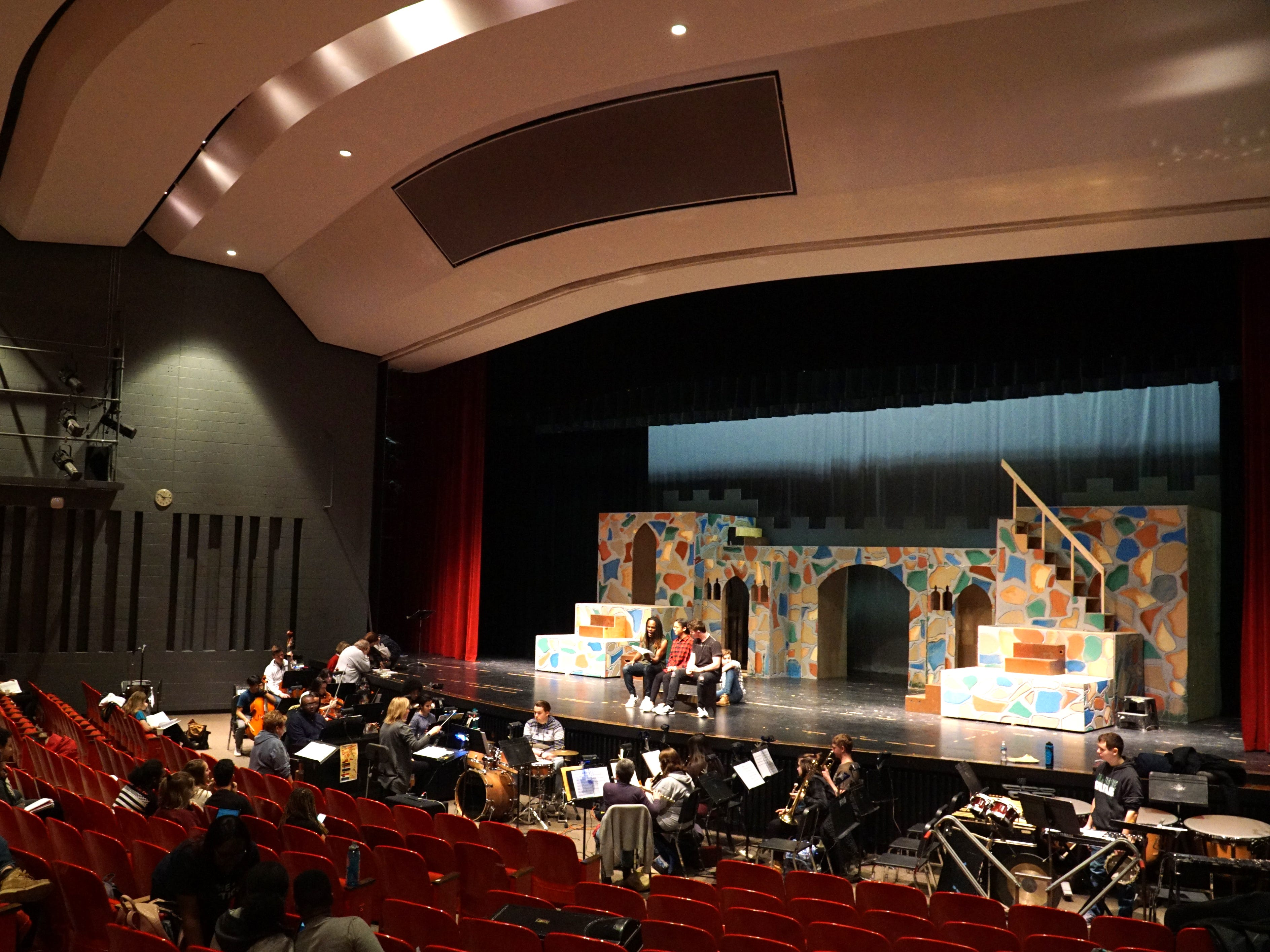 Farmington Hills Harrison students rehearse Once Upon a Mattress in their school's auditorium on March 11.