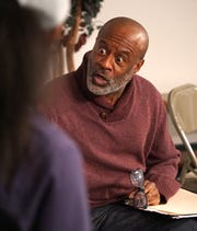 Kyle Greenlaw, who plays a judge in Beard's play, rehearses along with the cast on March 11.