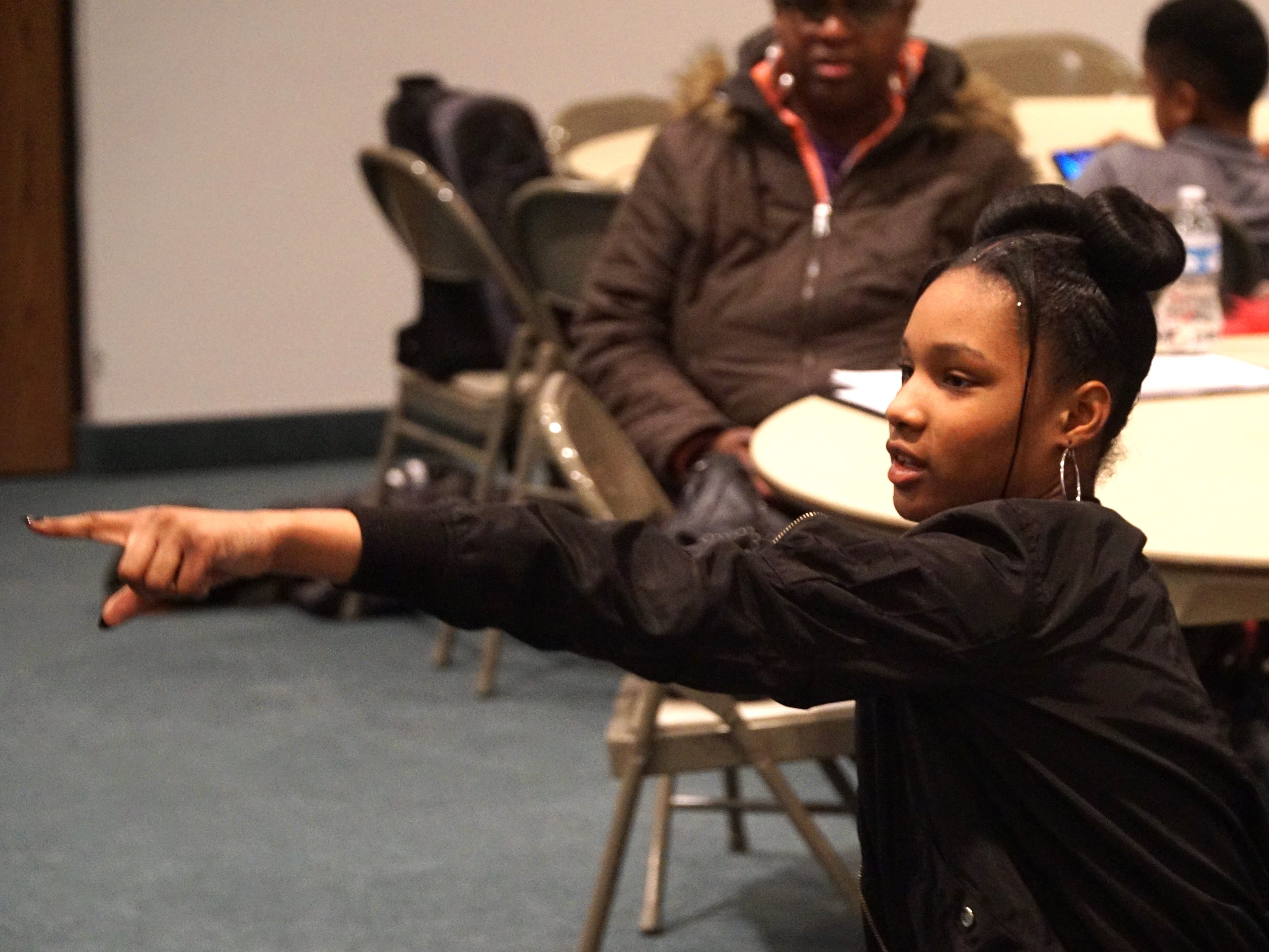 As the author and co-director of the play #Listen - Beard gives actors directions from her seat in the audience.
