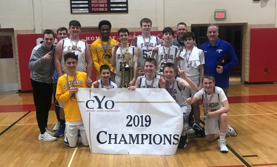 St. Michael's boys basketball won the CYO title in 2019.