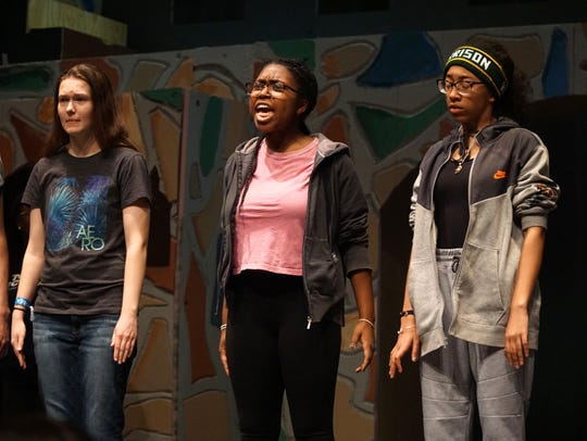 Queen Aggravan (Ebony Matthews) yells for Quiet! during a rehearsal of Farmington Hills Harrison's upcoming production of Once Upon a Mattress. The high schoolers were running through their musical on March 11.
