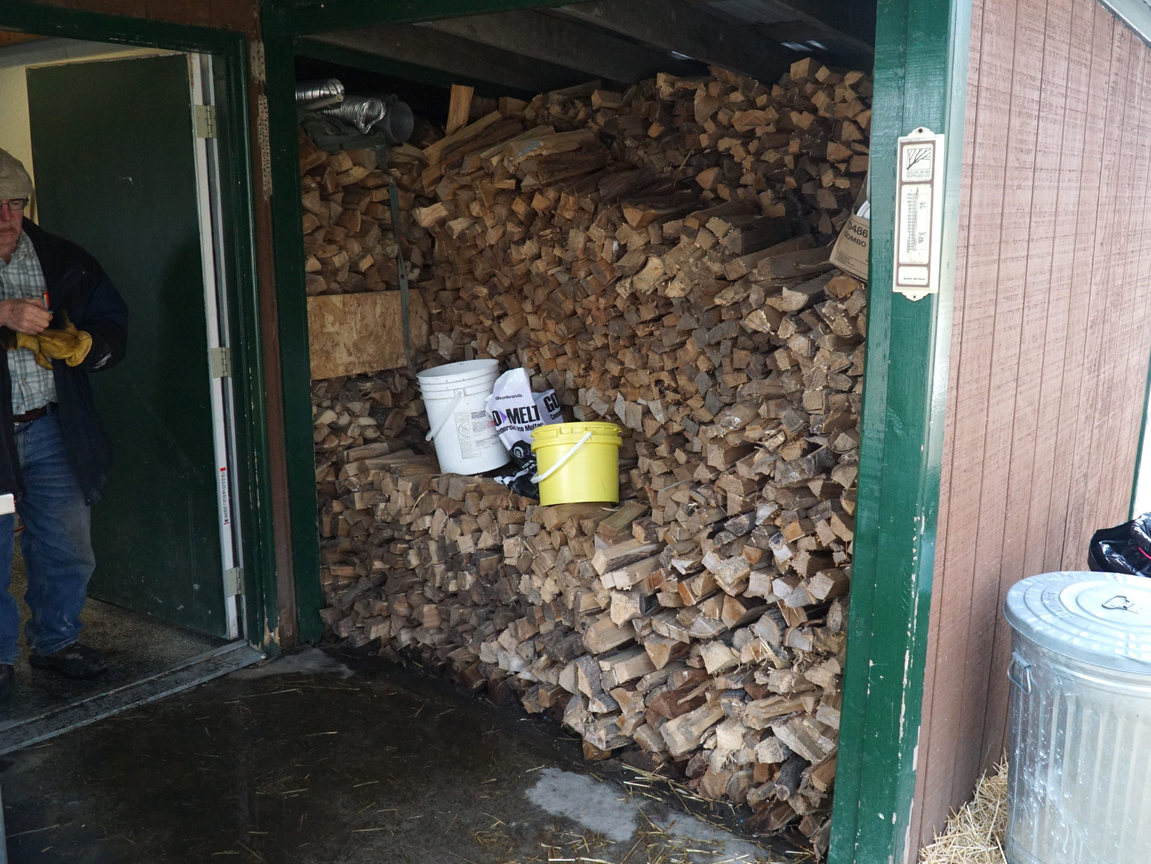 Tollgate uses lots of maple logs to fire up its evaporator - which it maintains its supply from its own forest.