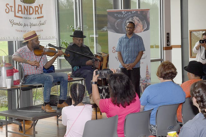 "Four-time Grammy nominee Cedric Watson and accordionist Lawrence ""Black"" Ardoin perform Saturday afternoon at the St. Landry Parish Tourist Center commemorating the lengedary Creole music of Amede Ardoin."