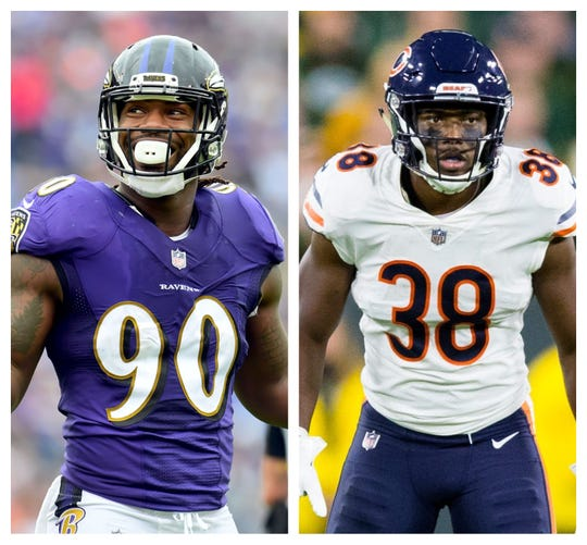 Baltimore edge rusher Za'Darius Smith, left, Chicago safety Adrian Amos.