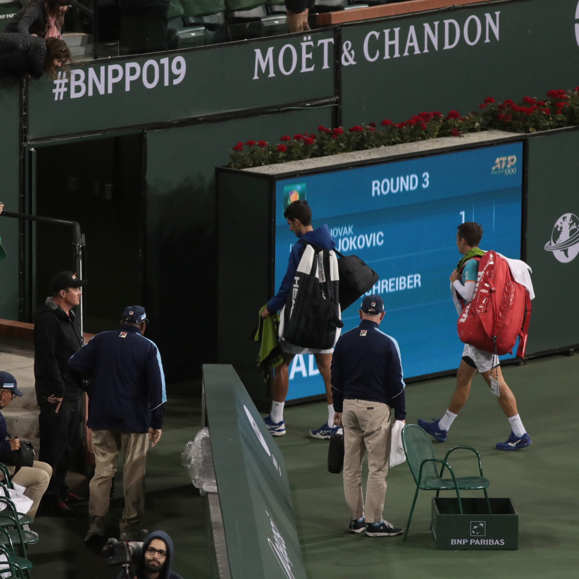 Rain postpones BNP Paribas Open night matches; forces Tuesday schedule change