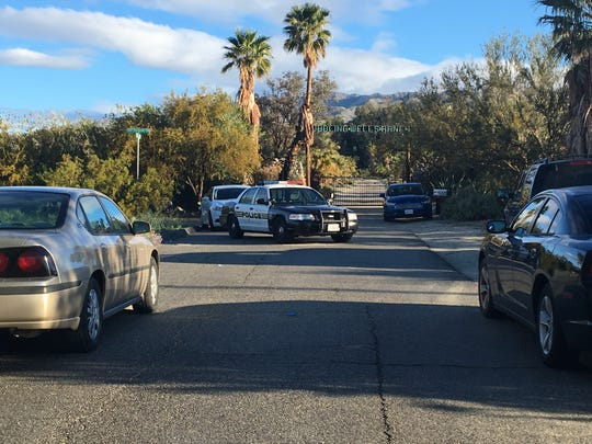 A police car is parked at San Gorgonio and Yerxa roads in Desert Hot Springs on March 12, 2019, near the site of a standoff that ended with a peaceful resolution, according to police.
