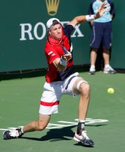 John Isner, of the United States of America plays against Guido Pella of Argentina on Stadium 3 at the 2019 BNP Paribas Open at Indian Wells Tennis Garden on March 11, 2019. Inser won the match 6-3, 6-4.