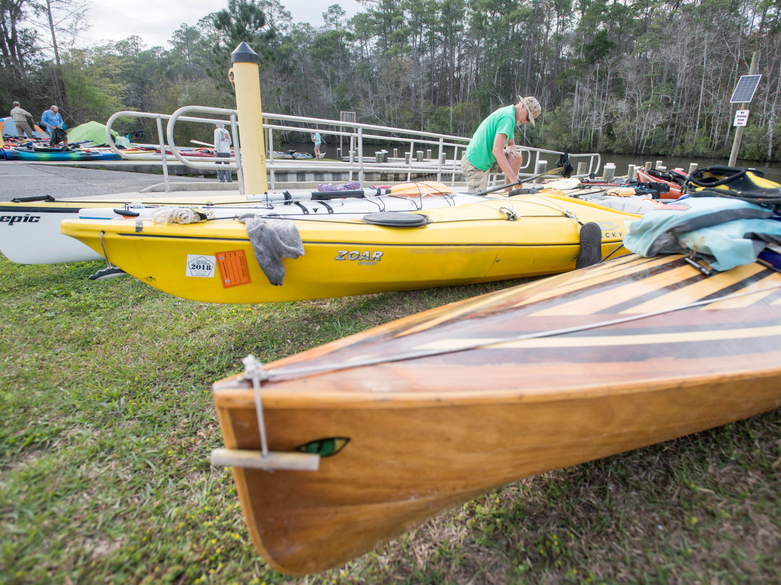 Paul Fogal, of Jim Thorpe, Pennsylvania, stores his gear at the Wilson Robertson Boat Ramp on the Perdido River in Pensacola on Monday, March 11, 2019.  Paddle Florida is hosting 60 paddlers on a 5-day, 60-mile journey from Otto Hill to Perdido Pass.  Florida is currently working with Alabama to establish a paddling trail on the Perdido River.