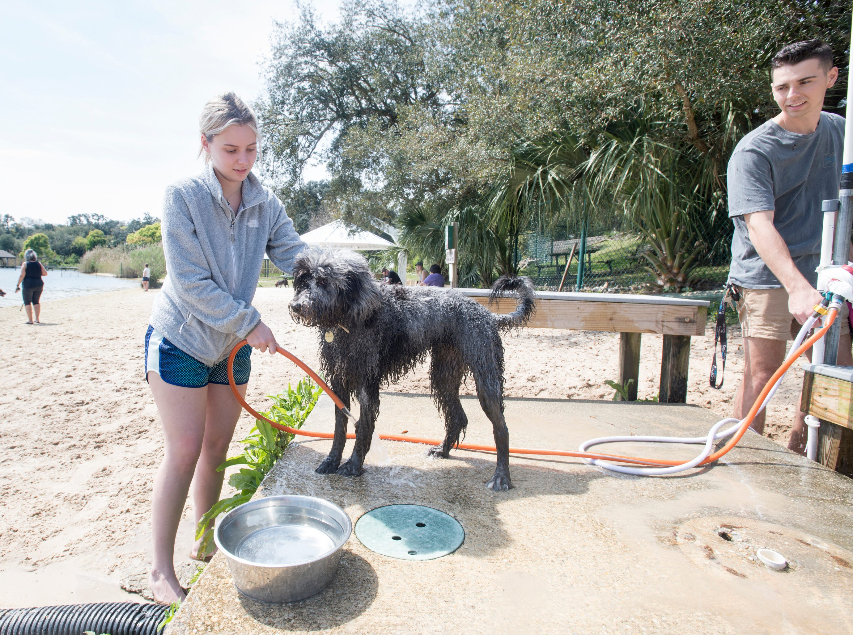 Veronica Patriotis rinses off her dog Nova at Bayview Park's dog park in Pensacola on Tuesday, March 12, 2019.  Navarre residents hope to get a similar dog park for their city.