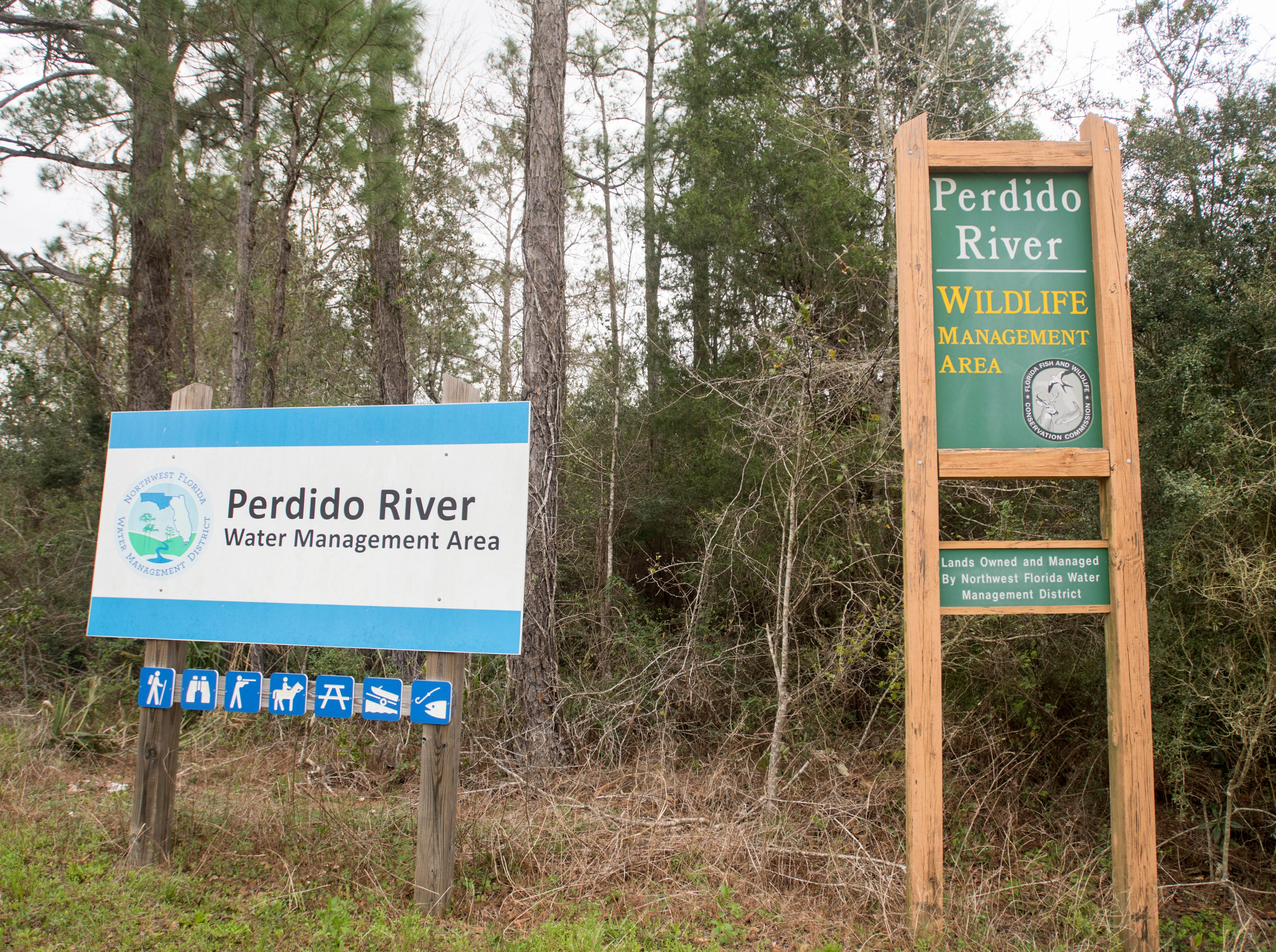Perdido River signs in Pensacola on Monday, March 11, 2019.  Paddle Florida is hosting 60 paddlers on a 5-day, 60-mile journey from Otto Hill to Perdido Pass.  Florida is currently working with Alabama to establish a paddling trail on the Perdido River.