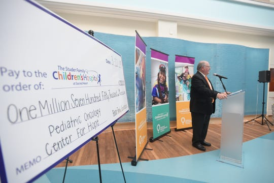 Lewis Bear with the Bear Family Foundation announces Tuesday that the foundation has made a $1.75 million donation to The Studer Family Children's Hospital at Sacred Heart.
