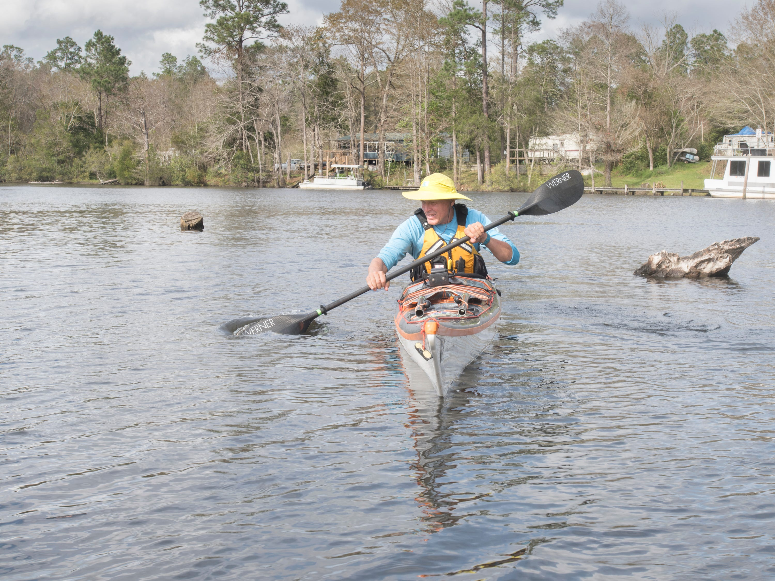 Paul Gelderblom, of Charlevoix, Michigan, kayaks on the Perdido River near the Wilson Robertson Boat Ramp in Pensacola on Monday, March 11, 2019.  Paddle Florida is hosting 60 paddlers on a 5-day, 60-mile journey from Otto Hill to Perdido Pass.  Florida is currently working with Alabama to establish a paddling trail on the Perdido River.