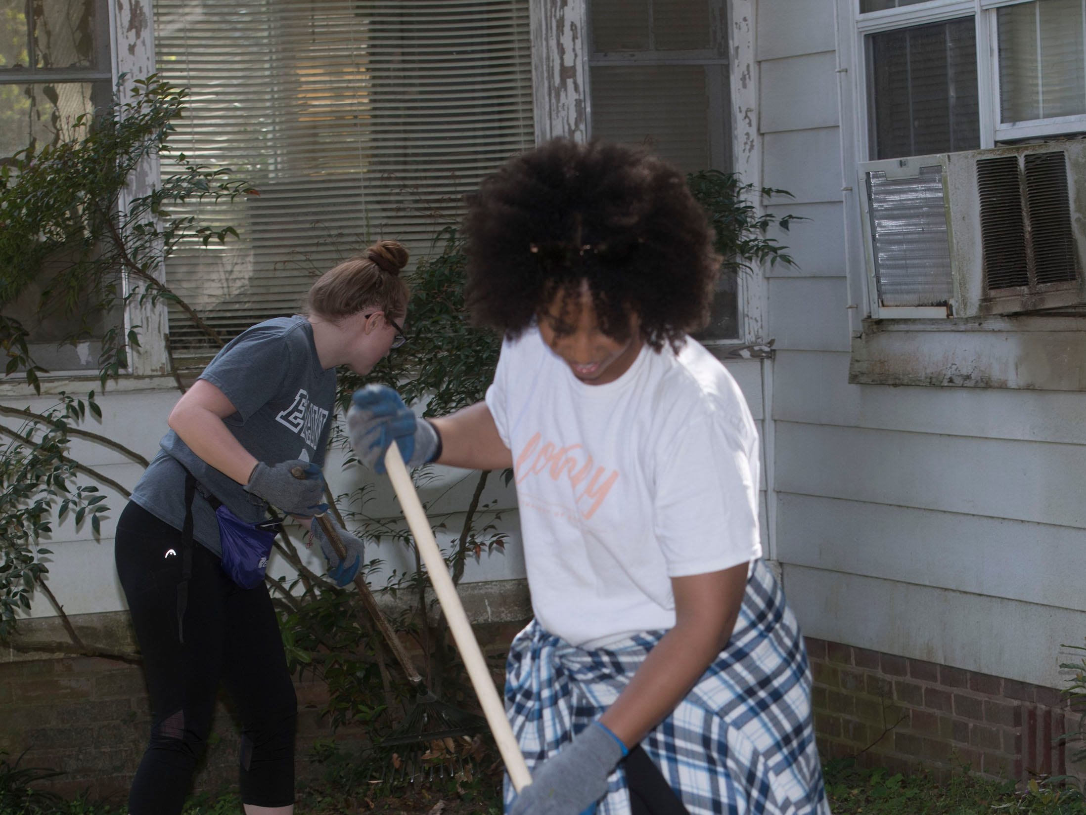 Volunteers from the organization, Call to Greatness, joins with Habitat for Humanity of Pensacola, Keep Pensacola Beautiful, the City of Pensacola and Escambia County to help revitalize the Brownsville area during the inaugural Rock the Block event on Tuesday, March 12, 2019.