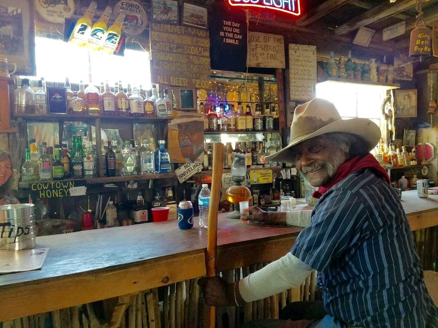 Ed Keeylocko at the bar of the Blue Dog Saloon.
