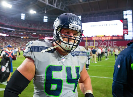 Sep 30, 2018: Seattle Seahawks guard J.R. Sweezy (64) against the Arizona Cardinals at State Farm Stadium.