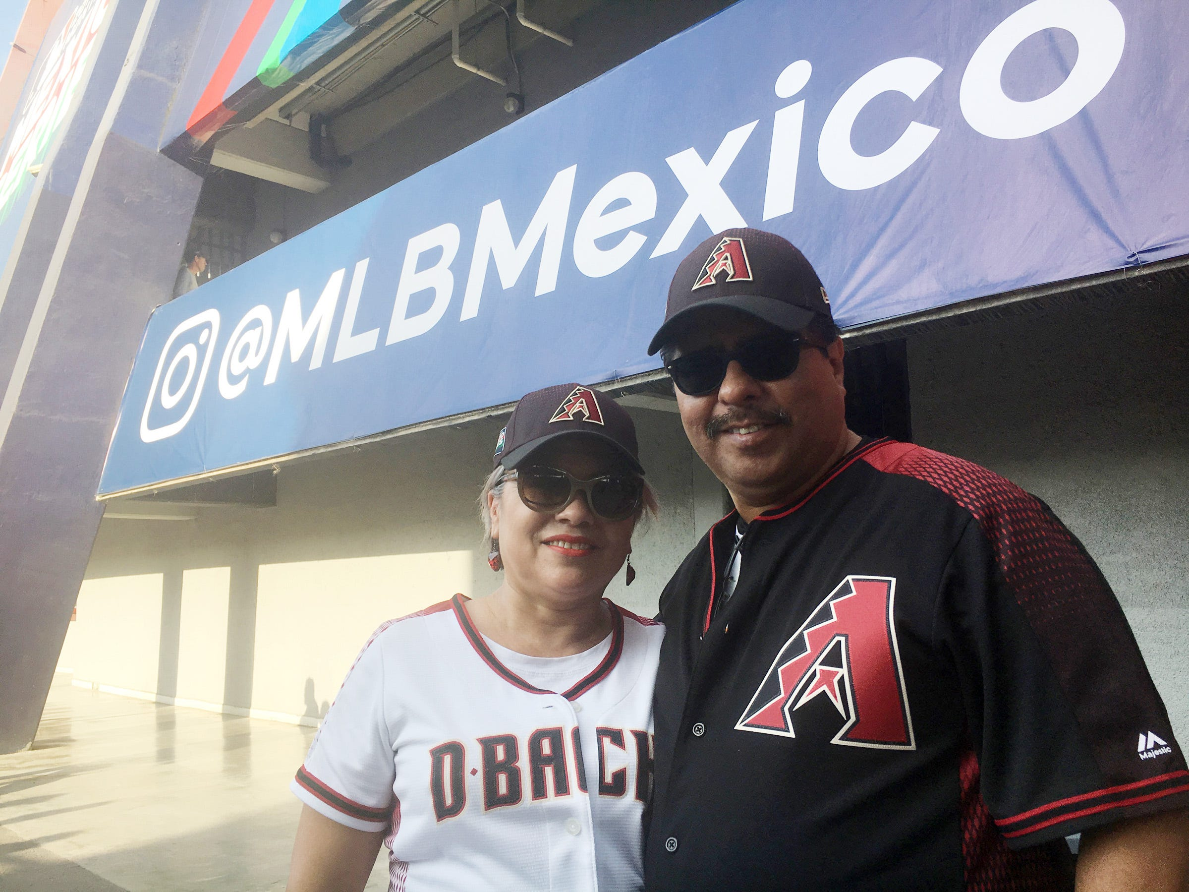 Gelacio Ramirez, 52, and his wife, Adriana Ramirez, 53, of Monterrey, Mexico, became Diamondbacks fans because Adriana liked their uniforms. They attended two spring training games in Monterrey between the Diamondbacks and the Colorado Rockies.