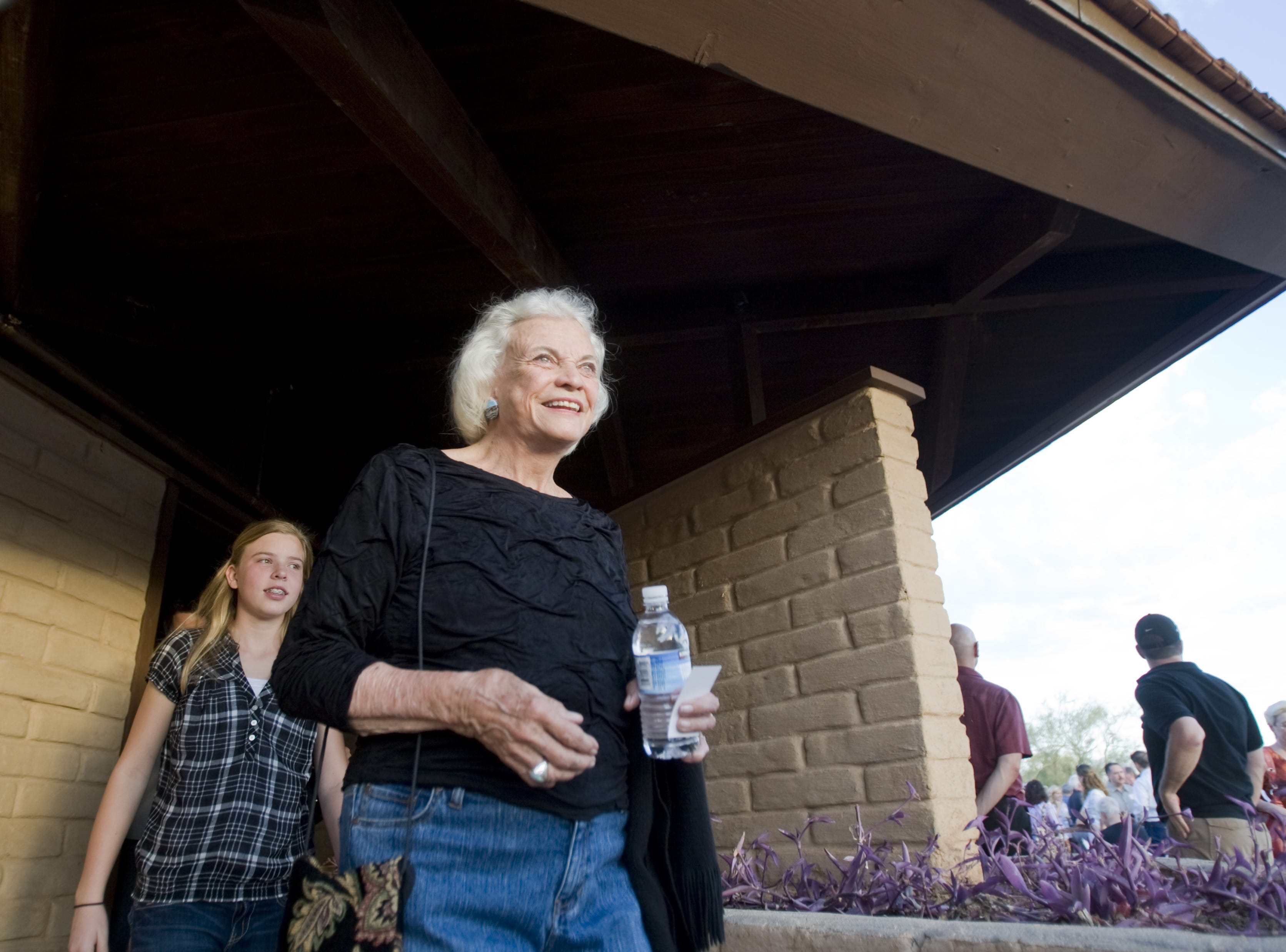Former Supreme Court Justice Sandra Day O'Connor walks out of the O'Connor House at Papago Park in Tempe on Oct. 18, 2009.