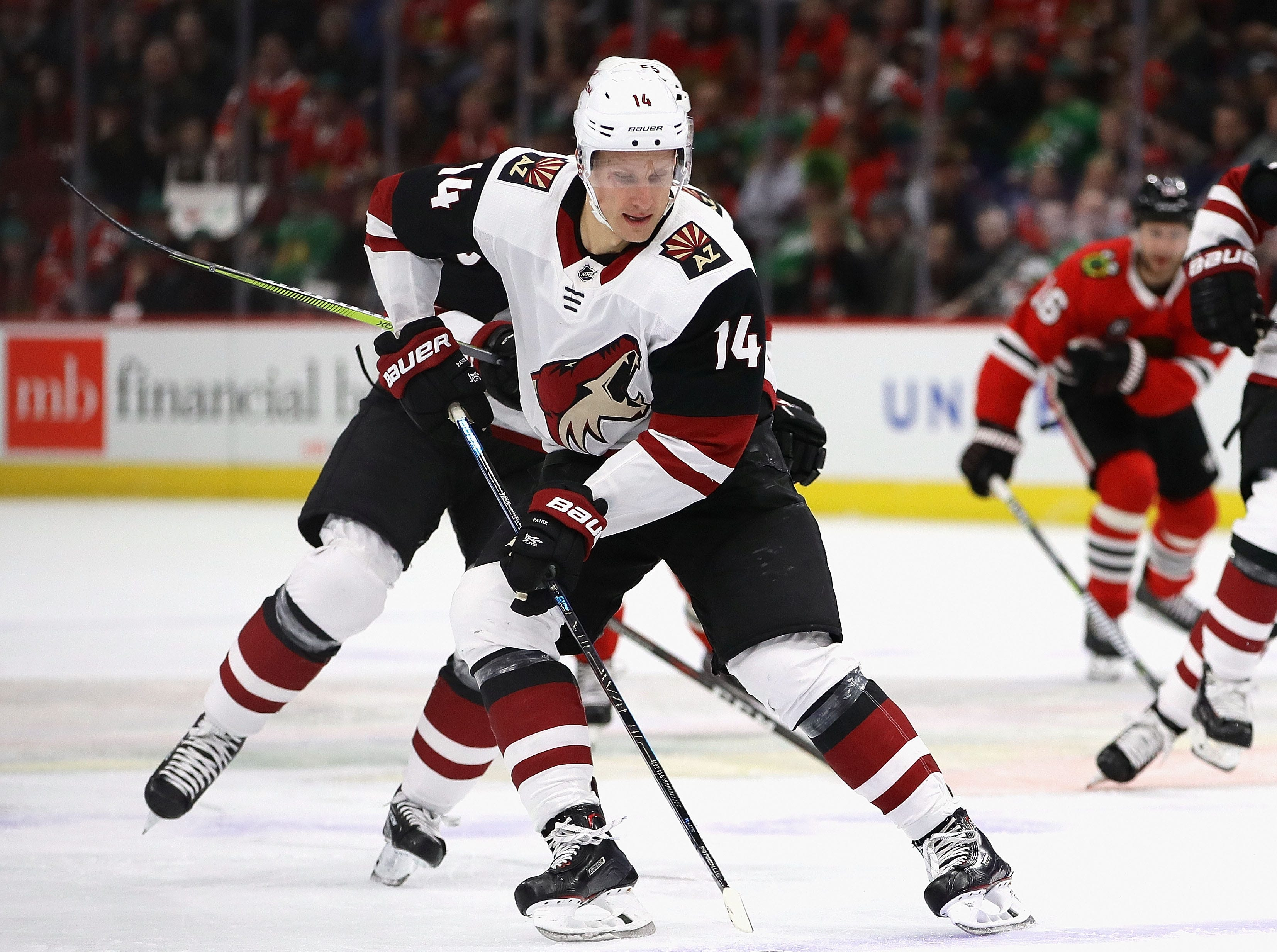 Richard Panik scored a goal in the first period of a game against the Blackhawks on March 11 at United Center.