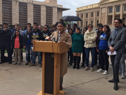 Stephanie Maldonado, an organizer with the group called LUCHA, or Living United for Change in Arizona, speaks at the state Capitol on Tuesday, March 12, 2019.
