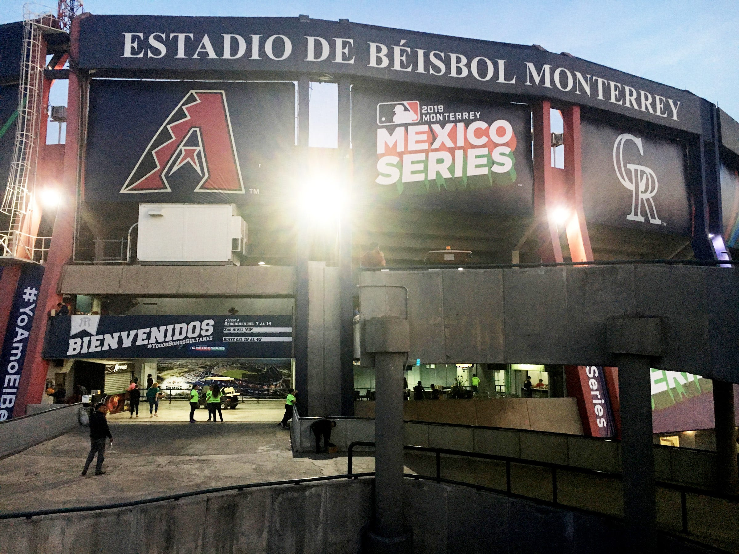 Banners hang outside the Estadio de Beisbol in Monterrey, Mexico, where the Arizona Diamondbacks and the Colorado Rockies played two spring training games in March 2019.