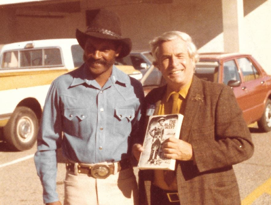 Ed Keeylocko (left) meeting William Katz, author of 'The Black West,' circa 1973.
